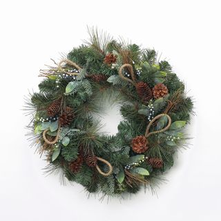 Holiday Collection 24-inch Bay Leaves/ Cedar and Jute Wreath (Pack of 4)