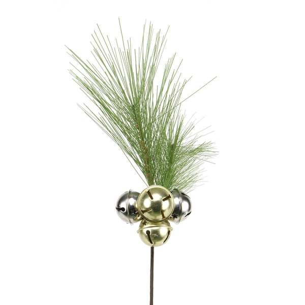 Classic Christmas Collection 15-inch Pine with Jingle Bells Pick (Pack of 12)