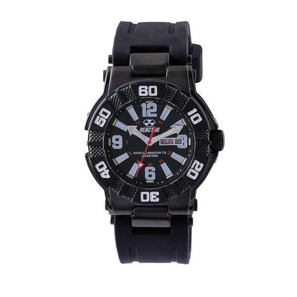 Reactor MX 44801 Black Stainless Steel Men's Rubber Strap Watch