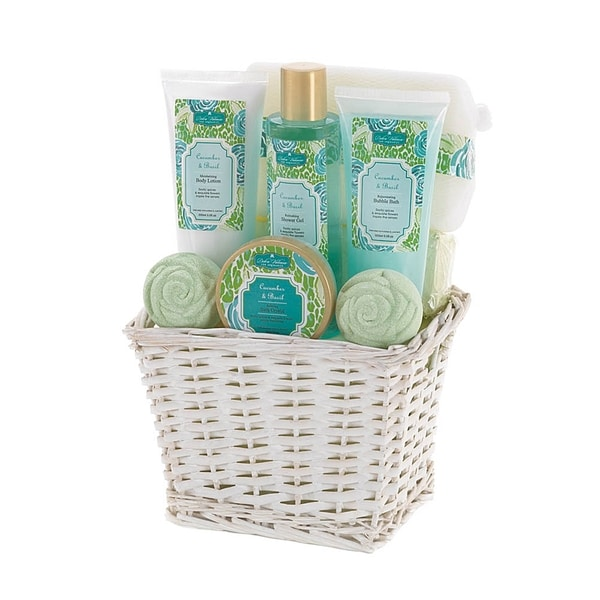 Spa Bath and Body Cucumber and Basil Scent Gift Basket