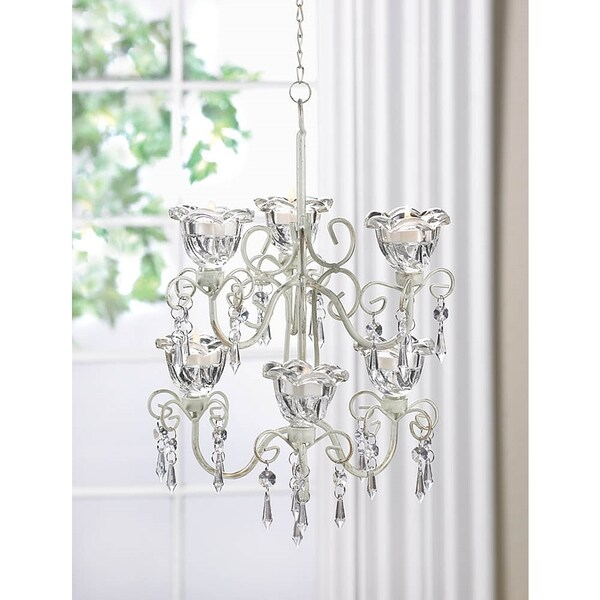 Elaborate Crystal and Candle Double Hanging Chandelier 16687273