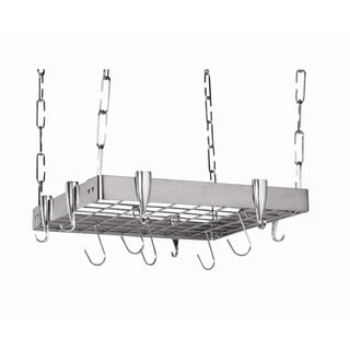 Concept Housewares Square Ceiling Pot Rack Stainless Steel