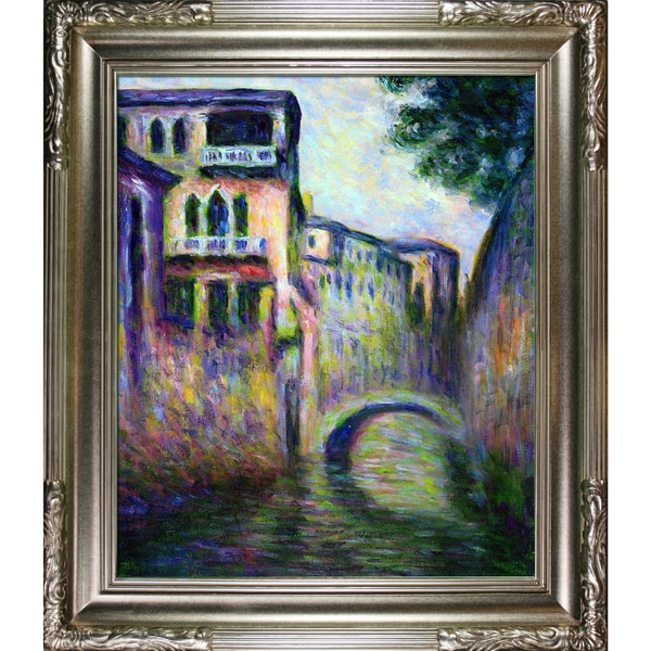 Claude Monet 'Rio della Salute 02' Hand Painted Framed Canvas Art