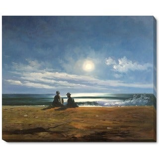 Winslow Homer 'Moonlight' Hand Painted Framed Canvas Art