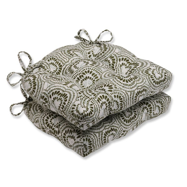 Pillow Perfect Jax Olive Reversible Chair Pad (Set of 2)