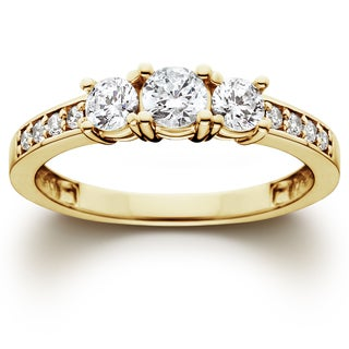 14k Yellow Gold 1 ct TDW Diamond Three Stone Ring (I-J,I2-I3)