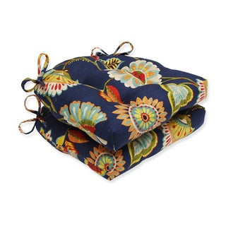 Pillow Perfect Ailey Prussian Reversible Chair Pad (Set of 2)