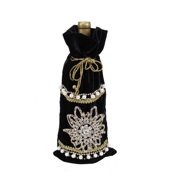 Baroque Collection 13.5-inch Velvet Gem Wine Bag (Pack of 1)