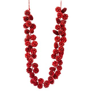 Classic Christmas Collection 72-inch Satin Red Pinecone Garland (Pack of 2)