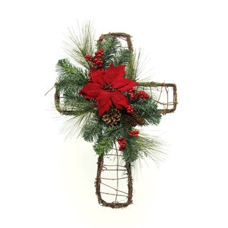 Holiday Collection 22-inch Poinsettia Mix Cones Cross (Pack of 2)