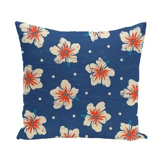Hibiscus Blooms Floral Print 18-inch Outdoor Pillow