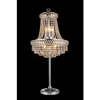Harper 4-light Crystal 36-inch Chrome Table Lamp