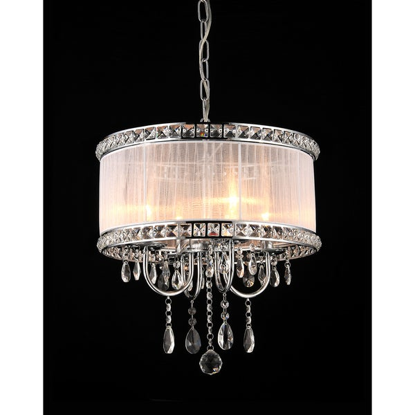 Odessa 4-light White Fabric 16-inch Chrome Chandelier
