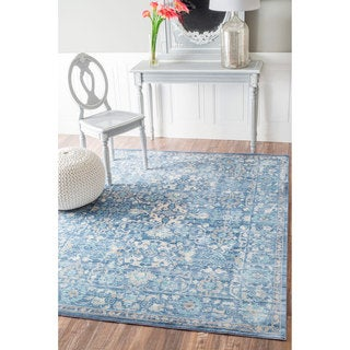 nuLOOM Traditional Intricate Fountain Blue Rug (9' x 12')