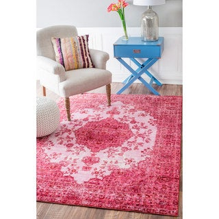 nuLOOM Traditional Intricate Medallion Pink Rug (9' x 12')