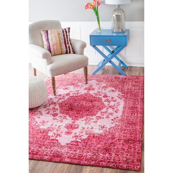 Nuloom Traditional Intricate Medallion Pink Rug 5 3 X 7 7