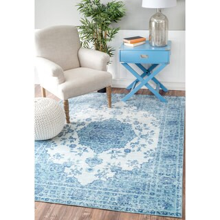 nuLOOM Traditional Intricate Medallion Blue Rug (9' x 12')