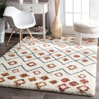 nuLOOM Sot and Plush Moroccan Variations Rainbow Trellis Shag Multi Rug (5'3 x 7'6)