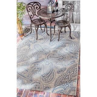 nuLOOM Vintage Stitched Damask Indoor/ Outdoor Blue Rug (8'6 x 12'2)