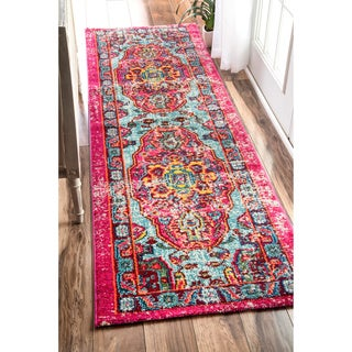 nuLOOM Distressed Abstract Vintage Oriental Multi Runner Rug (2'6 x 8')