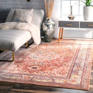 nuLOOM Traditional Floral Oriental Border Orange Rug (9' x 12')