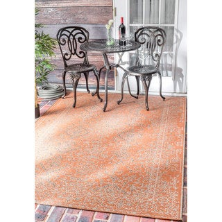 nuLOOM Vintage Stitched Damask Indoor/ Outdoor Orange Rug (7'10 x 11'2)