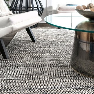 nuLOOM Handmade Flatweave Contemporary Solid Cotton Grey Rug (5' x 8')