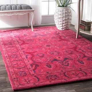 nuLOOM Handmade Persian Overdyed Pink Wool Rug (8'6 x 11'6)