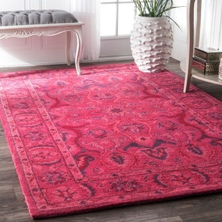 nuLOOM Handmade Persian Overdyed Pink Wool Rug (6' x 9')