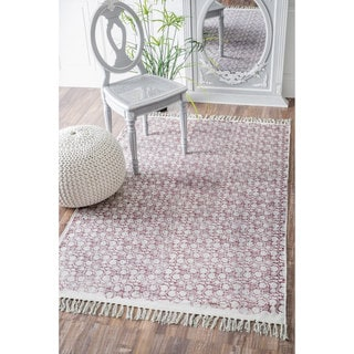 nuLOOM Handmade Flatweave Abstract Floral Cotton Fringe Chatelle Rug (5' x 8')