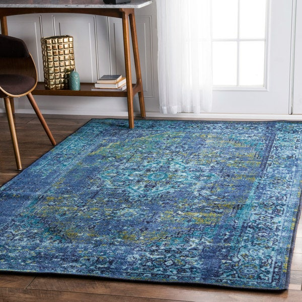 Nuloom Vintage Inspired Turquoise Overdyed Rug: NuLOOM Traditional Vintage Inspired Overdyed Fancy Blue