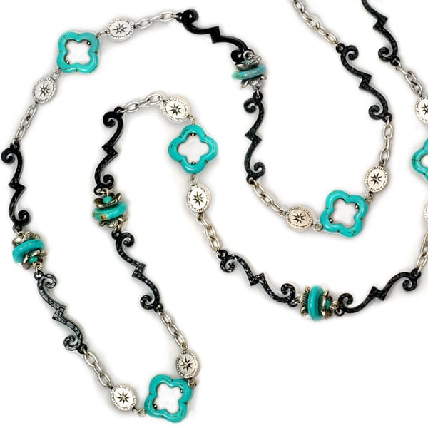Sweet Romance Iron Bars and Turquoise Windows Necklace