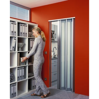 Homestyle Metro Aluminum with Turquoise Frosted Insert Folding Door