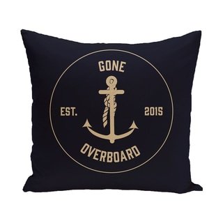 Gone Overboard Word Print 16-inch Pillow