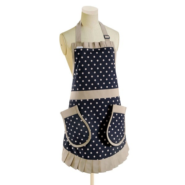 Pinny Pockets Navy and Tan Polka Dots Kitchen Apron