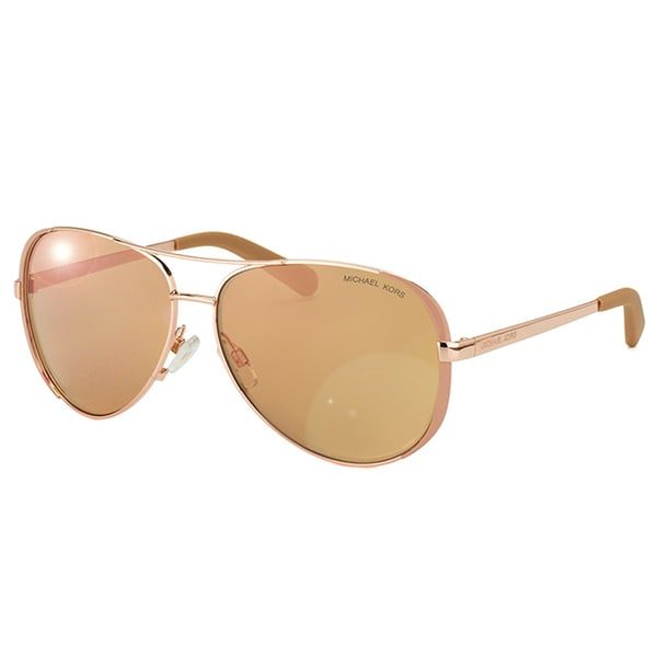 Michael Kors Womens Chelsea MK 5004 1017R1 Rose Gold And Toupe Metal Aviator Sunglasses