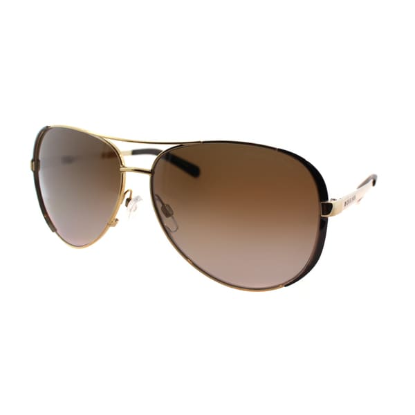 Michael Kors Womens Chelsea MK 5004 1014T5 Gold And Black Metal Aviator Polarized Sunglasses