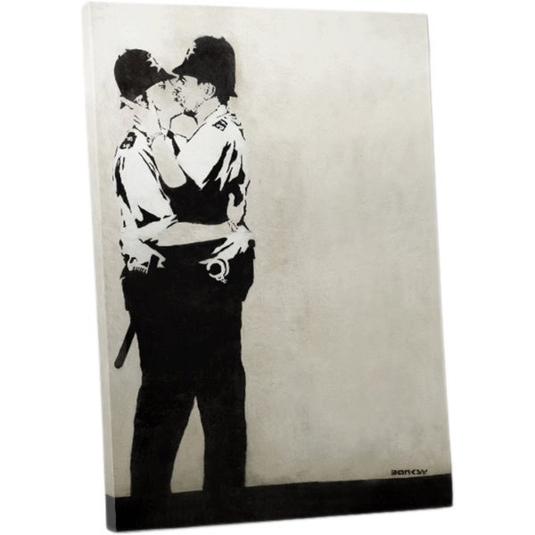 Banksy 'Kissing Cops' Gallery Wrapped Canvas Wall Art