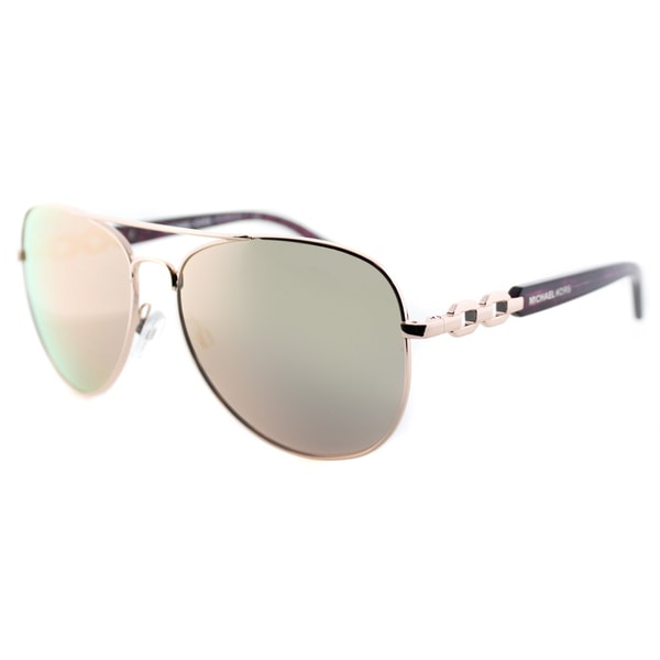 Michael Kors Womens Fiji MK 1003 1003R5 Rose Gold Metal Aviator Sunglasses