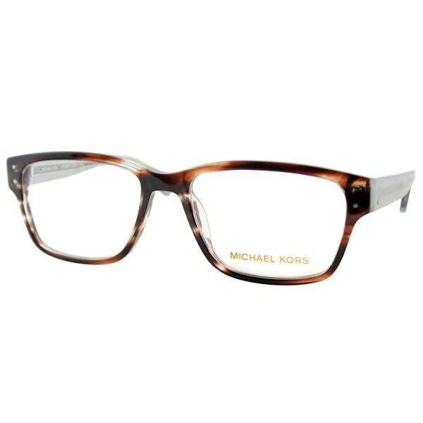 Michael Kors Unisex MK 284M 226 Brown Horn Rectangle Plastic Eyeglasses-53mm