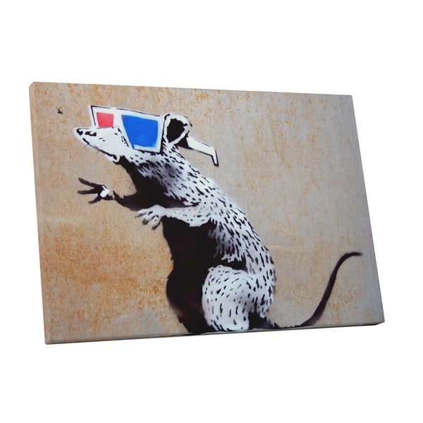 Banksy 'Rat 3D Glasses' Gallery Wrapped Canvas Wall Art 16690089