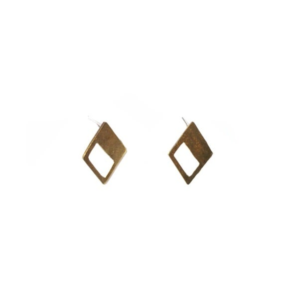 Brass Triangle Window Stud Earrings