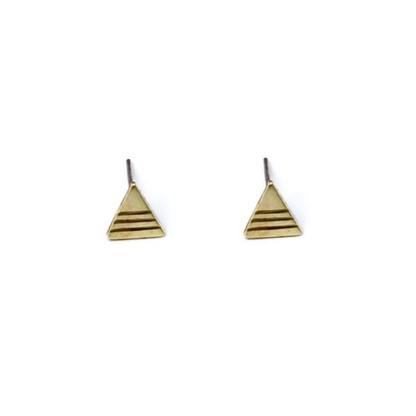 Brass Triangle Stud Earrings