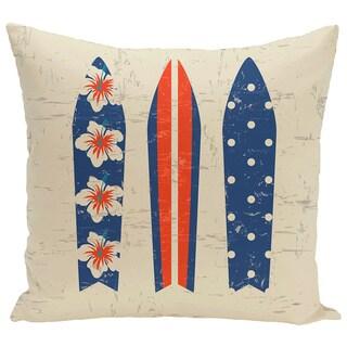 Triple Surf 18-inch Geometric Print Pillow