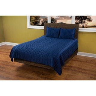 Rizzy Home Satinology Navy 3-piece Quilt Set