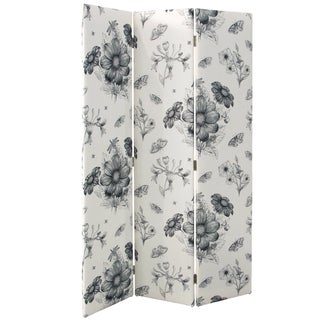 Skyline Furniture Floral Black/ White Adult Straight Screen