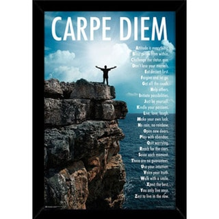 Carpe Diem Print with Contemporary Poster Frame (24 x 36)