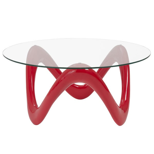 Chelsea Coffee Table - Clear Glass Top/Red