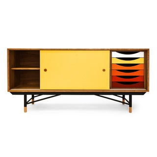 1955 Color Theory Mid-century Modern Sideboard Credenza, Natural Ash/Yellow Drawers