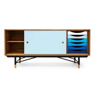 1955 Color Theory Mid-century Modern Sideboard Credenza, Natural Ash/Blue Drawers